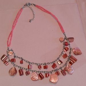 Necklace- Double Strand- Silver Tone